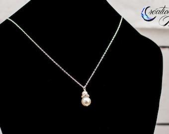Necklace, Pearl necklace, wedding necklace, simple necklace, wedding, white pearl, Swarovski
