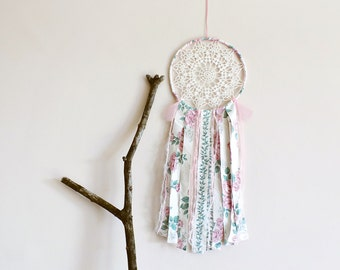 Bohemian dream catcher, large dreamcatcher, crochet doily, wall hanging, beads, roses, floral, room decor, wall decor, handmade, home decor