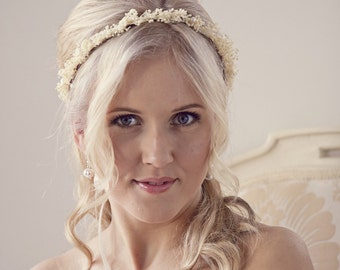 Babys Breath Flower Crown, Ivory Floral Bridal Headpiece, Wedding Flower Crown, Bridal Flower Crown, Gypsophila crown