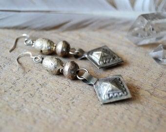Sale / boho earrings - Kuchi and Ethiopian prayer bead earrings - ethnic tribal bohemian jewelry