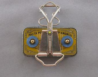ART MAGNET - Upcycled magnet Assemblage magnet Officer & kitchen magnet - Zoleen