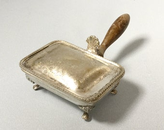 Silver plate silent butler, Crumb catcher, Cigarette box with wooden handle, EPNS metal box, Engraved silver plate box