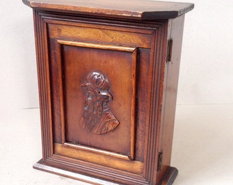 Vintage wooden smokers cabinet, Pipe rack, Small wood cupboard, Tobacciana, Wall storage, Storage box