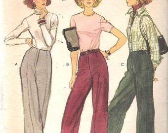 """Vintage 1970's Vogue 9587 Misses Pants Sewing Pattern Size 30 Waist 30"""""""