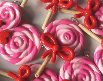Valentine's Day Polymer Clay Swirl Red and Pink Lollipops with Wooden Sticks, Approx 30 mm, Sold Individually