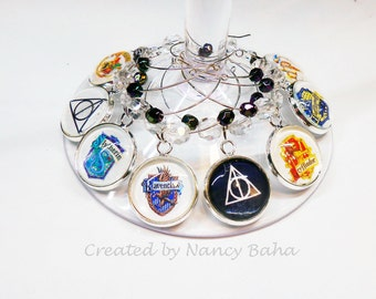 Harry Potter Wine Glass Charms - Wine Charms - Beverage Markers - Wine Glass Tags - Stemware Charms, Table Settings, WCHP815s/g