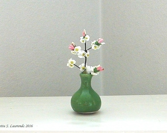 Dollhouse Miniature Apple Blossom Branch in Green porcelain vase - 1:12 Scale paper flowers (GF19)