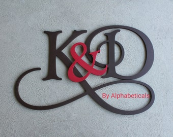 His and Hers Wooden Monogram Initials Couples Wooden Letters Wall Decor Wall Letters Wooden Initials Large Name Sign Script Alphabeticals
