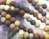Lot of 5 strands 8mm Matte Mookaite Loose Spacer Beads Round 15.5 inch strand (BD5747)