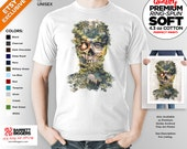 T Shirt of my Skull Tribal Forest Surreal Nature Original art clothing design for Men and Women by Barrett Biggers