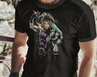 T Shirt of Cloud FInal Fantasy VII portrait painting design art clothing design for Men and Women by Kolabs Studios