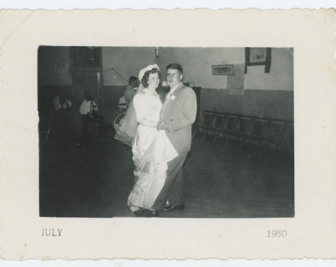 Bride Dances with Groom, 1950 Vintage Snapshot Photo [65458]