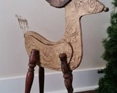Reindeer Christmas Decor, Recycled Wood Sculpture,  Repurposed One of a Kind. Vintage Look Deer Distressed Gold Finish