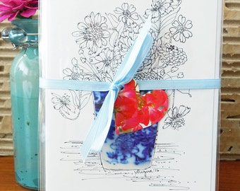 """Floral COLOR MY OWN Note Cards, Adult Coloring, Hand Drawn, Signed, Original, """"Tiny Bouquets"""" Pen and Ink, Zinnias, Blank Inside, Set of 4."""