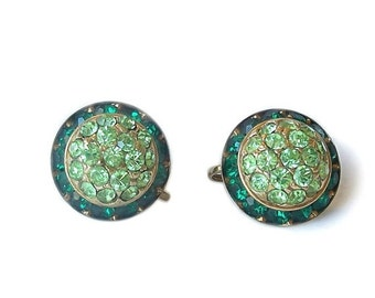 Vintage Coro Earrrings Emerald Peridot Green Rhinestones Screw on