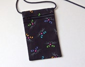 Pouch Zip Bag CAT FACES on Black Fabric - great for walkers, markets, travel. Cell Phone Pouch. Small fabric Purse. 6.75x4.25""