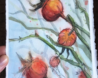 Rose Hips Abstract Watercolor Painting, Original Art by Olga Shvartsur, Plants 5.5x7.5