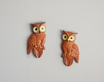 Vintage Owl Wall Hanging Set of Two