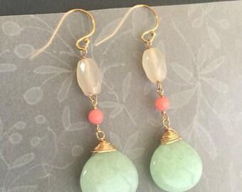 Jade dangling earrings, Long Dangle Earrings, Wedding Jewelry, Mother's Day Jewelry, Bridesmaid Jewelry