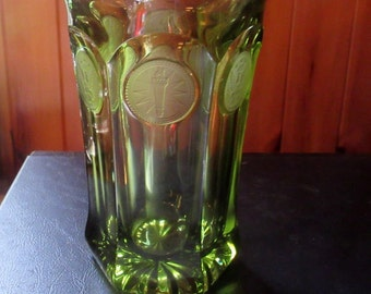 FOSTORIA gorgeous olive green frosted coins tall tumbler, or lovely vase