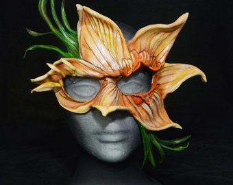 Leather Daffodil Flower Woodland Dryad Leaf Sprite Leather Masquerade Cosplay Mask
