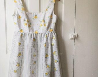 Handmade Yellow and White Mixed Print Dress