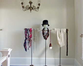 "One 50"" Tall Necklace / Scarf / Hat Display - Available WITH or WITHOUT Mannequin Head - Freestanding Accessory Display Rack"