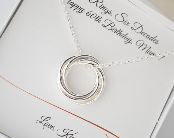 60th Birthday gift for mom, 6 Interlocked rings necklace, 60th birthday gift for grand mother, Gift for sister, 6  anniversary gift for her