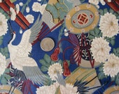 Cotton Quilt Fabric, Asian Motif,  Oriental Quilting Material, Cranes, 2 + yards, Destash Craft Supply