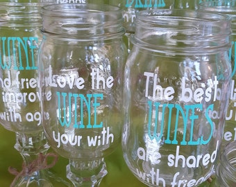 2 BEACHY Sun and Sand and a DRINK in my hand or Girl Quotes Mason Jar Wine Drink PERSONALIZED Birthday Glasses Custom red neck wine glasses