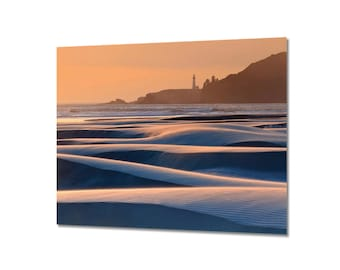 Metal Wall Art Yaquina Head Lighthouse Newport Oregon Pacific Ocean Sunset Seascape Metal Print Beach Photography Large Wall Art Blue Orange