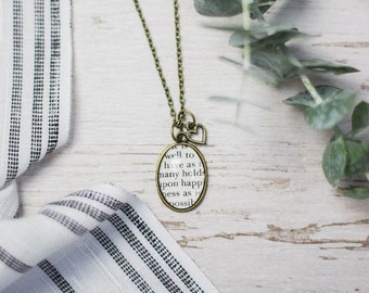 Jane Austen Northanger Abbey Antiqued Silver Book Page Necklace It is well to have as many holds upon happiness as possible