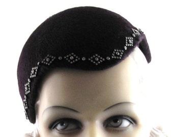 Womens Hat Red Burgundy Fur Felt Long Hair Rhinestones Hande Made Hat Races Derby Church Cloche Ascot Art Deco Custom Made for Each Client