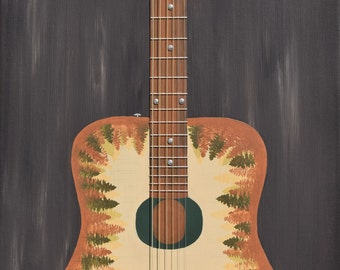 Multimedia Accoustic Guitar Painting with real Guitar Strings