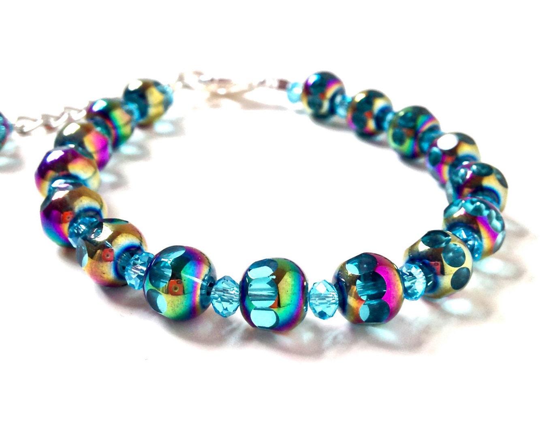 blue bead bracelet glass bead bracelet iridescent jewelry