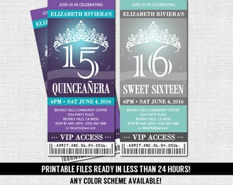 QUINCEANERA or SWEET 16 TICKET Invitations - Any Color Scheme (print your own) Printable Files - Sixteen Birthday Tiara Quince Party Dance