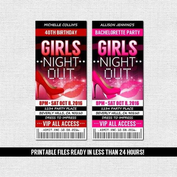 BACHELORETTE or BIRTHDAY TICKET Party Invitation Girls Night Out (print your own) Personalized Printable Files Red Pink High Heel Party Bus