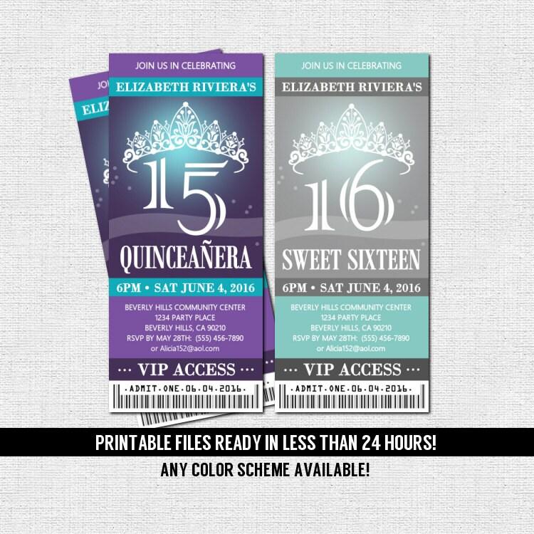 free printable quinceanera invitation ticket. Black Bedroom Furniture Sets. Home Design Ideas