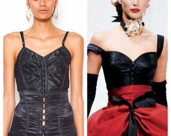 Further REDUCTION was 475 now 285 amazing vintage 1992 DOLCE & GABBANA satin elastic corset bustier bodice top
