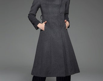 Classic Gray Coat - Wool Smart Tailored Fitted Long Women's Coat with High Neck Collar, Pockets and Self-Tie Belt C758