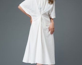 White Cotton Dress - Mid-Length Relaxed-Fit Short-Sleeved Plus Size Summer Dress with Ruched Detail on Front  C902
