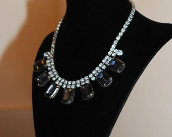 SALE! Vintage Sapphire Blue Glass Rhinestone Dazzling Exquisite Necklace NG