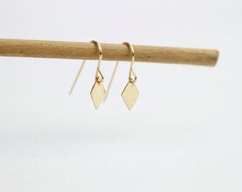 Minimal gold earrings / Minimal silver earrings / Diamond charm earrings / Earring hooks / Simple everyday / Gifts