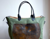 Diaper bag gym bag hand dyed waxed Canvas  THE WANDERLUST
