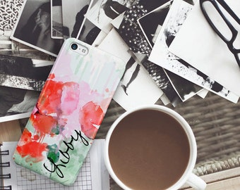 Personalized gifts for mom, Floral phone case, Monogram Coral Unique, Fits iPhone 4/4s 5/5s 6/6s 7 8 5c SE X and Plus,  Pink green  (1395)