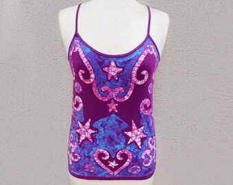 Hippie Tank Top, Boho Tank Top, Bohemian Clothing, Purple Tank Top, Yoga Tank Top, One of a Kind Gift for Her, Purple Batik Top, Festival