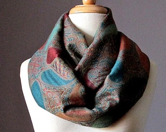 Large paisley  Infinity Scarf , Pashmina ,  brown teal