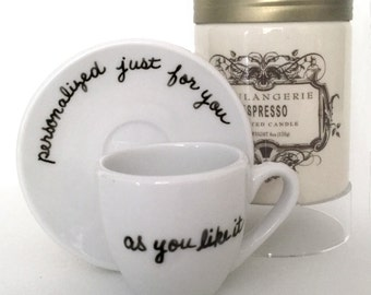 Personalized Upcycled Espresso Cup and Saucer, As You Like It, Customized Just for You