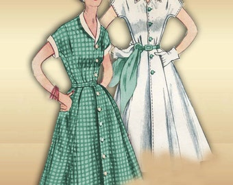 Simplicity 3878 1950s Dress Pattern Vintage Fit and Flare Summer Short Sleeve Career Dress Bust 33