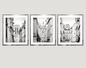 Set of 3 prints, black and white Paris photography architecture prints, city art, extra large wall art set, grey oversized art, 16x20, 24x30